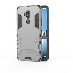 Custodia Silicone e Plastica Opaca Cover con Supporto per LG G7 Grigio