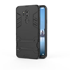 Custodia Silicone e Plastica Opaca Cover con Supporto per LG G7 Nero
