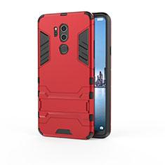 Custodia Silicone e Plastica Opaca Cover con Supporto per LG G7 Rosso