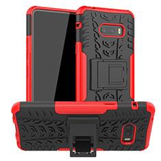 Custodia Silicone e Plastica Opaca Cover con Supporto per LG G8X ThinQ Rosso