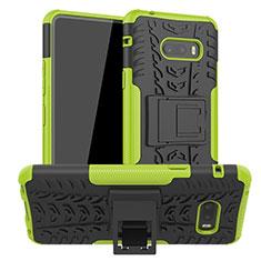 Custodia Silicone e Plastica Opaca Cover con Supporto per LG G8X ThinQ Verde