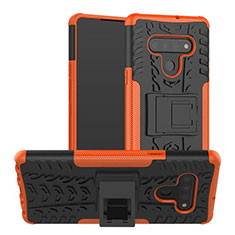 Custodia Silicone e Plastica Opaca Cover con Supporto per LG Stylo 6 Arancione
