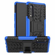 Custodia Silicone e Plastica Opaca Cover con Supporto per LG Velvet 5G Blu