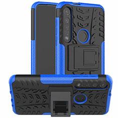 Custodia Silicone e Plastica Opaca Cover con Supporto per Motorola Moto G8 Plus Blu