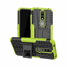 Custodia Silicone e Plastica Opaca Cover con Supporto per Nokia 4.2 Verde