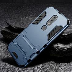 Custodia Silicone e Plastica Opaca Cover con Supporto per Nokia 6.1 Plus Blu