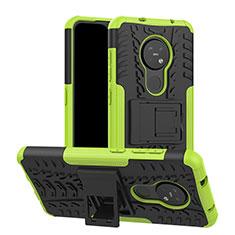 Custodia Silicone e Plastica Opaca Cover con Supporto per Nokia 7.2 Verde