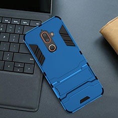 Custodia Silicone e Plastica Opaca Cover con Supporto per Nokia 7 Plus Blu