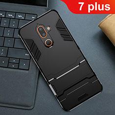Custodia Silicone e Plastica Opaca Cover con Supporto per Nokia 7 Plus Nero
