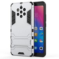 Custodia Silicone e Plastica Opaca Cover con Supporto per Nokia 9 PureView Bianco
