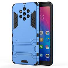 Custodia Silicone e Plastica Opaca Cover con Supporto per Nokia 9 PureView Cielo Blu