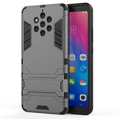 Custodia Silicone e Plastica Opaca Cover con Supporto per Nokia 9 PureView Grigio
