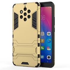 Custodia Silicone e Plastica Opaca Cover con Supporto per Nokia 9 PureView Oro