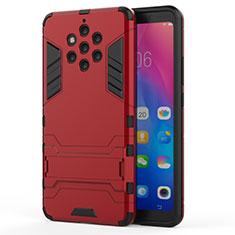 Custodia Silicone e Plastica Opaca Cover con Supporto per Nokia 9 PureView Rosso