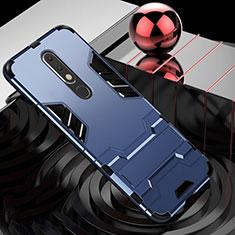 Custodia Silicone e Plastica Opaca Cover con Supporto per Nokia X5 Blu