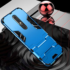 Custodia Silicone e Plastica Opaca Cover con Supporto per Nokia X5 Cielo Blu
