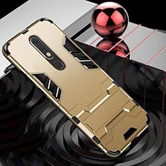 Custodia Silicone e Plastica Opaca Cover con Supporto per Nokia X5 Oro