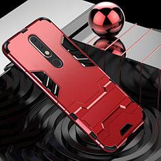 Custodia Silicone e Plastica Opaca Cover con Supporto per Nokia X5 Rosso
