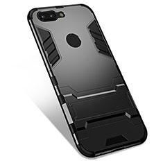 Custodia Silicone e Plastica Opaca Cover con Supporto per OnePlus 5T A5010 Nero