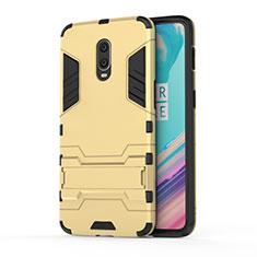 Custodia Silicone e Plastica Opaca Cover con Supporto per OnePlus 7 Oro