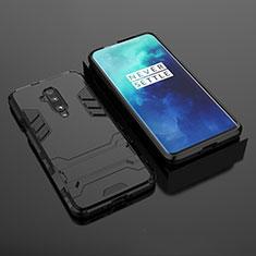 Custodia Silicone e Plastica Opaca Cover con Supporto per OnePlus 7T Pro Nero