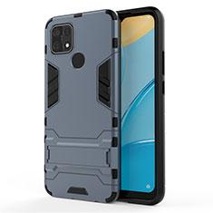 Custodia Silicone e Plastica Opaca Cover con Supporto per Oppo A15 Blu