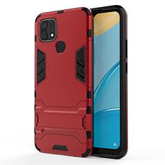 Custodia Silicone e Plastica Opaca Cover con Supporto per Oppo A15 Rosso