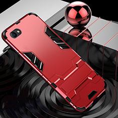 Custodia Silicone e Plastica Opaca Cover con Supporto per Oppo A3 Rosso