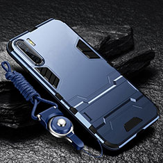 Custodia Silicone e Plastica Opaca Cover con Supporto per Oppo A91 Blu