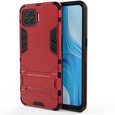 Custodia Silicone e Plastica Opaca Cover con Supporto per Oppo F17 Pro Rosso