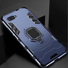 Custodia Silicone e Plastica Opaca Cover con Supporto per Oppo K1 Blu