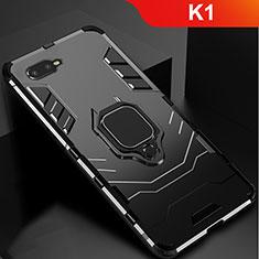 Custodia Silicone e Plastica Opaca Cover con Supporto per Oppo K1 Nero