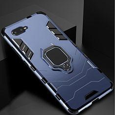 Custodia Silicone e Plastica Opaca Cover con Supporto per Oppo R15X Blu