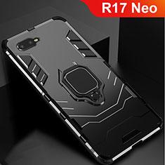 Custodia Silicone e Plastica Opaca Cover con Supporto per Oppo R17 Neo Nero