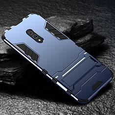 Custodia Silicone e Plastica Opaca Cover con Supporto per Oppo Realme X Blu