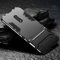Custodia Silicone e Plastica Opaca Cover con Supporto per Oppo Realme X Nero