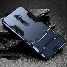 Custodia Silicone e Plastica Opaca Cover con Supporto per Oppo Reno 10X Zoom Blu