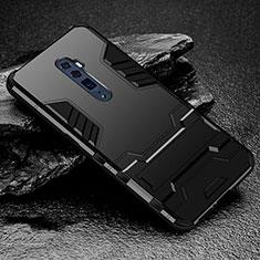 Custodia Silicone e Plastica Opaca Cover con Supporto per Oppo Reno 10X Zoom Nero