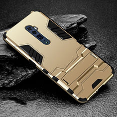 Custodia Silicone e Plastica Opaca Cover con Supporto per Oppo Reno 10X Zoom Oro