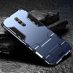 Custodia Silicone e Plastica Opaca Cover con Supporto per Oppo Reno Blu