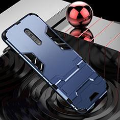 Custodia Silicone e Plastica Opaca Cover con Supporto per Oppo Reno Z Blu