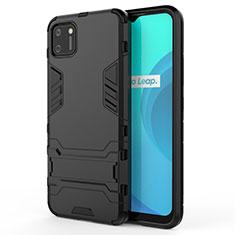 Custodia Silicone e Plastica Opaca Cover con Supporto per Realme C11 Nero