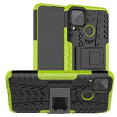 Custodia Silicone e Plastica Opaca Cover con Supporto per Realme C15 Verde