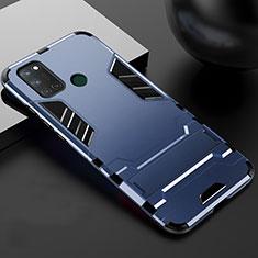 Custodia Silicone e Plastica Opaca Cover con Supporto per Realme C17 Blu