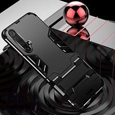 Custodia Silicone e Plastica Opaca Cover con Supporto per Realme X3 SuperZoom Nero