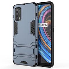 Custodia Silicone e Plastica Opaca Cover con Supporto per Realme X7 Pro 5G Blu
