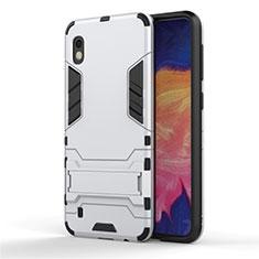Custodia Silicone e Plastica Opaca Cover con Supporto per Samsung Galaxy A10 Argento