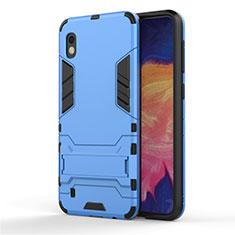 Custodia Silicone e Plastica Opaca Cover con Supporto per Samsung Galaxy A10 Cielo Blu
