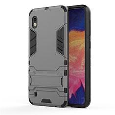 Custodia Silicone e Plastica Opaca Cover con Supporto per Samsung Galaxy A10 Grigio