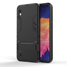 Custodia Silicone e Plastica Opaca Cover con Supporto per Samsung Galaxy A10 Nero